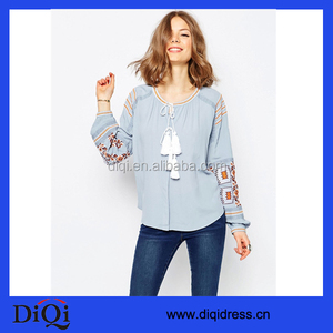 European Buyer Of Garments Ladies Blouse Long Sleeve Embroidered Blouses