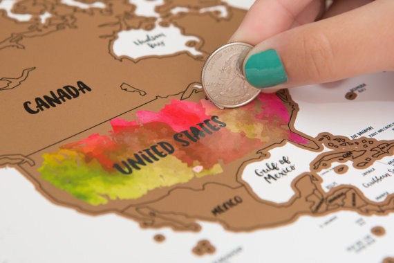 Scratch off Map of the World World Map including Flags Map Push Pins / Scratcher / Memory Stickers Deluxe Travel Map
