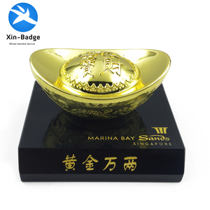 HIgh quality custom shoe-shaped gold plated ingot