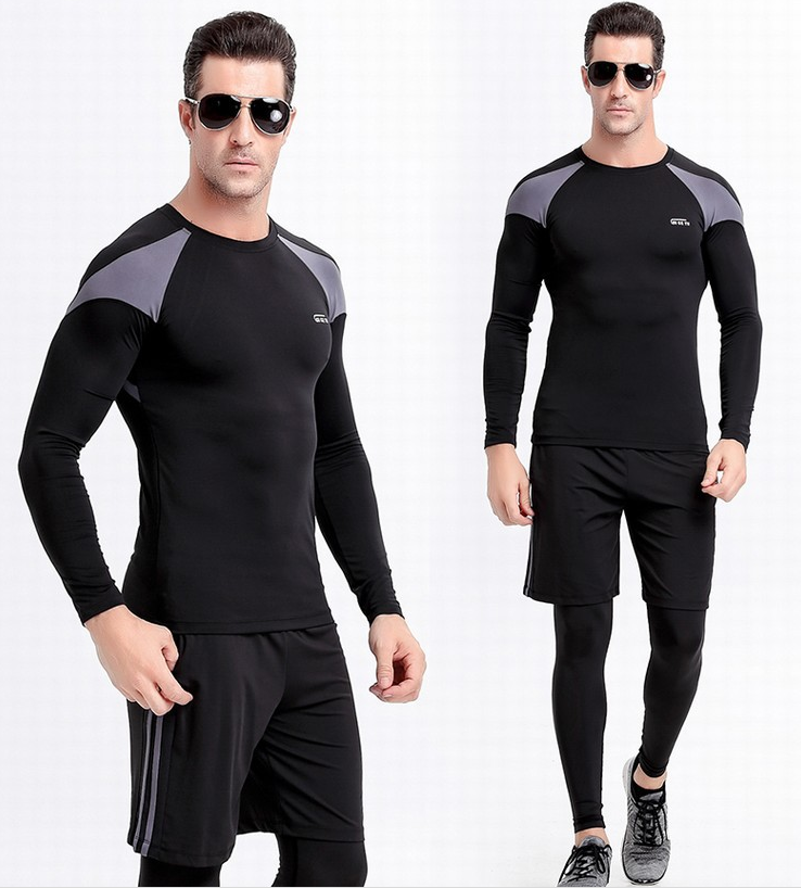 reflective logo printing men's compression tight fitness yoga clothing men tight leggings pants