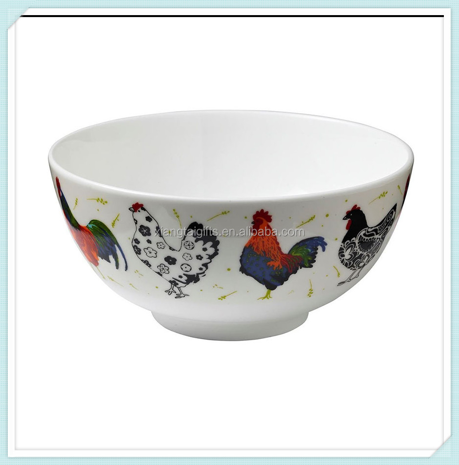 White Ceramic Rooster Soup/Cereal Bowl