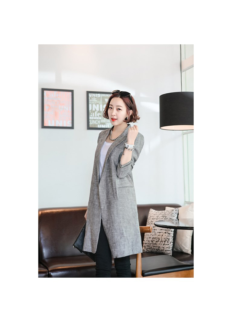 1d2fca44e95 Get Quotations · 2015 Thin Cotton Linen Coat Ladies Korean Gray Long  Blazers Slim Autumn Female Blazer S-