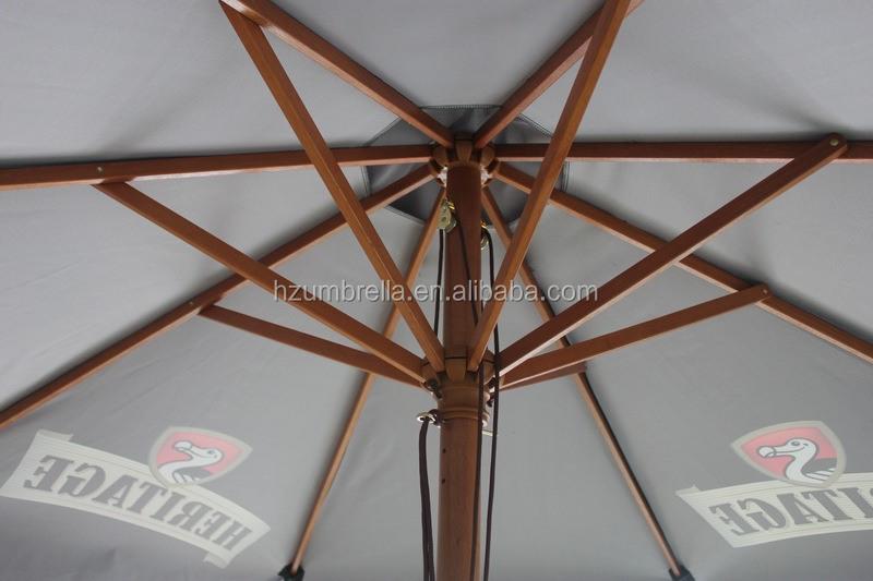 130cmX8K Black Sun Protect Wooden Frame Big Patio Umbrella