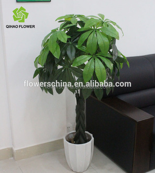 Potted Artificial Money Tree Plant Garden Green