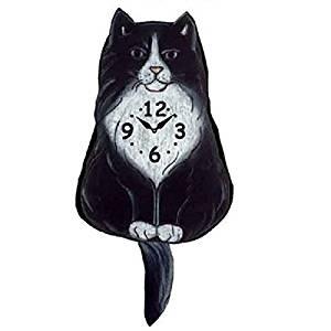 Fluffy Tuxedo Cat Wagging Tail Pendulum Clock
