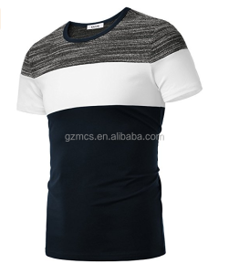 Wholesale OEM custom stripe colorful round collar male t shirt in Guangzhou