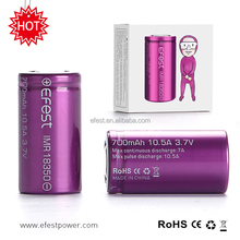Hot Sale Efest 18350 Battery 700mah Rechargeable 10.5amp AW IMR 18350 mod battery charger