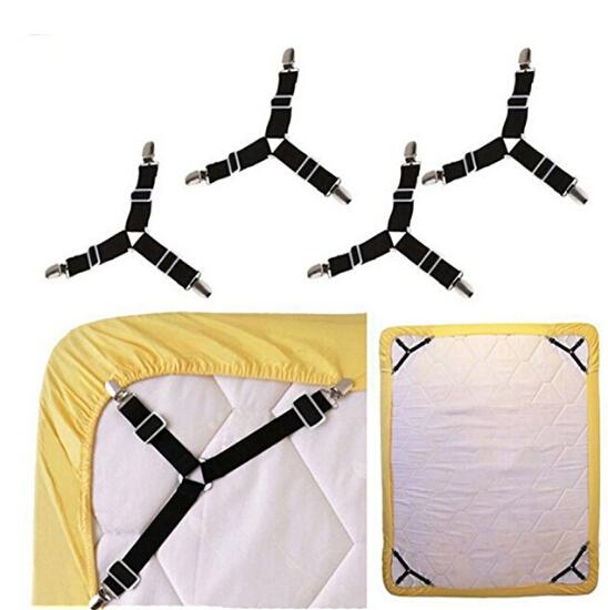 Set of 4 B-001 Strong Elastic Bed Sheet Fasteners Grippers Suspenders