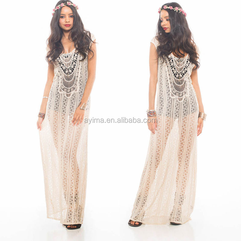 Fashion Woman Crochet Maxi Dress Sleeveless Hippie Boho Gypsy