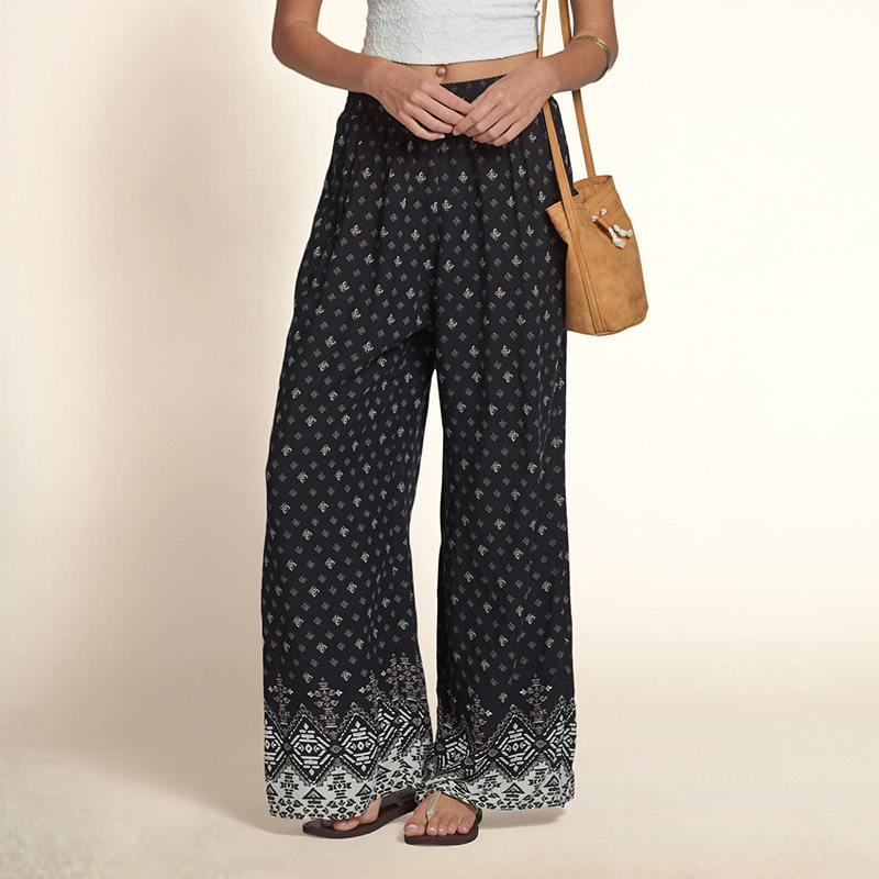 F20304A Ladies fashion trousers design women's pants vintage totem printed losse pants for women