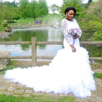 Ne294 Lace Ruffles African Mermaid Wedding Dresses Sheer Long Sleeve