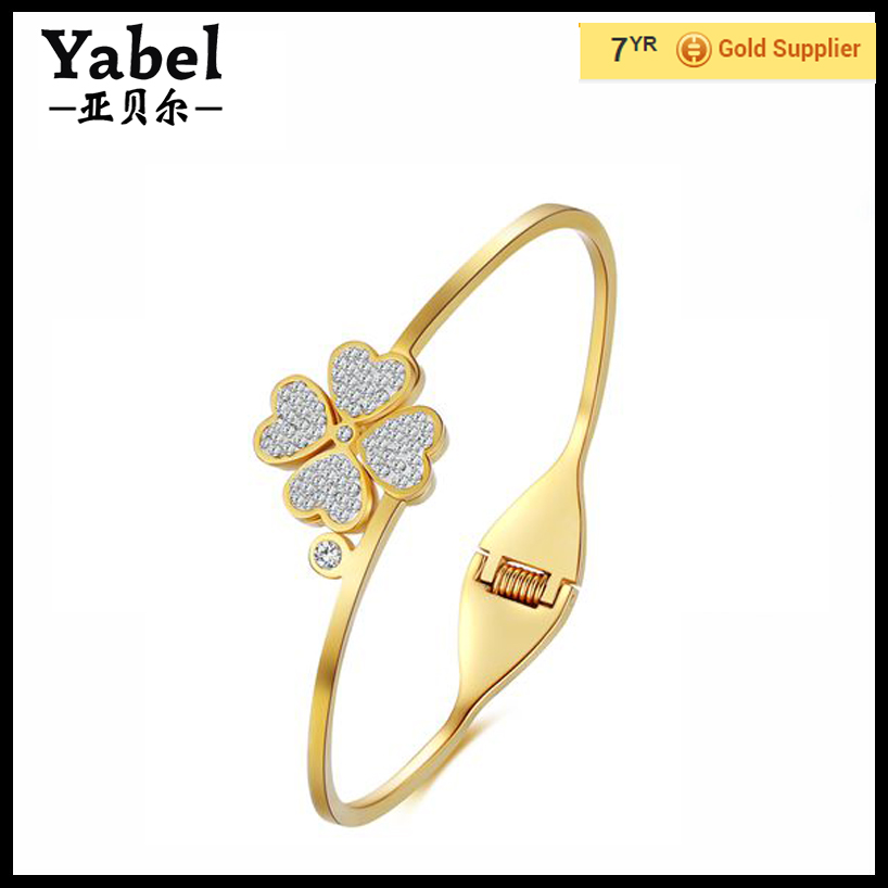 Fashion heart flower crystal bracelets gold plating bangles for girls jewelry wholesale