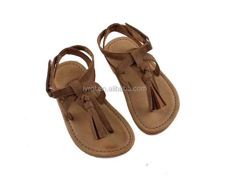 Shoes from china wholesale sandel shoes kids PU flip flops <strong>sandals</strong> with fringe