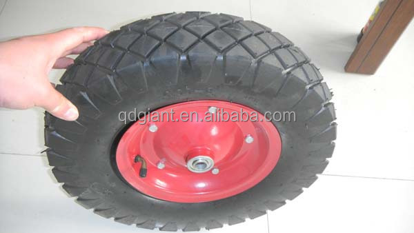 Pneumatic rubber wheels 4.00-8 with screwed metal rim