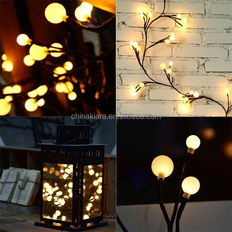 Factory Supply Lighted Willow Vine 6ft LED Light Garland Balls