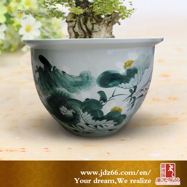 Large Chinese Hand Painted Indoor Ceramic Flower Pots
