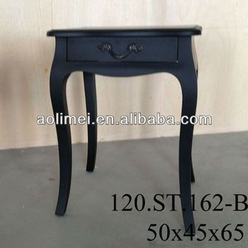 Black French Country 1 Drawer Bedside Table