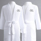 Comfortable 100% Cotton White Waffle Fabric kimono Collar Bathrobe for Adult