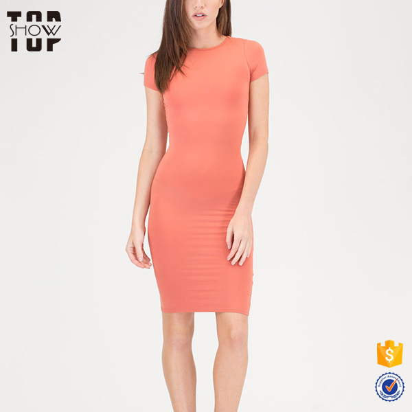 OEM service clothing 2018 custom dress hot selling woman dress high quality t-shirt midi dress