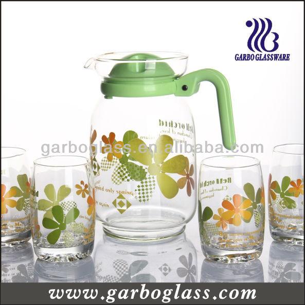 Machine Blown Custom Printed Glass Jug Set/glass Water Jug Set ...