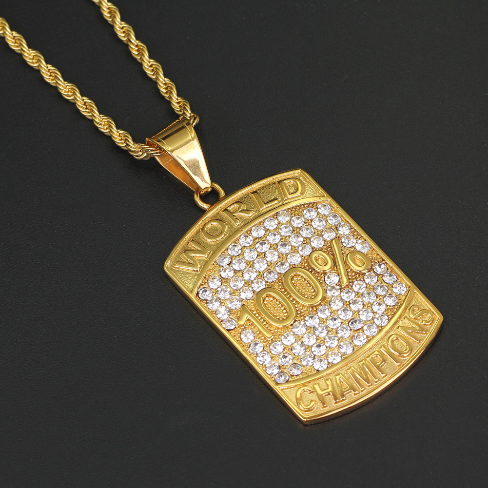Wholesale Mens Hiphop Jewelry Iced Out Rhinestone 100% World Champion Stainless Steel Pendant Necklace