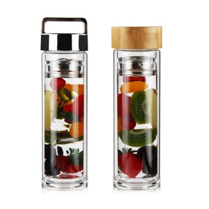 Different Lid Glass Tea Infuser Bottle with Strainer