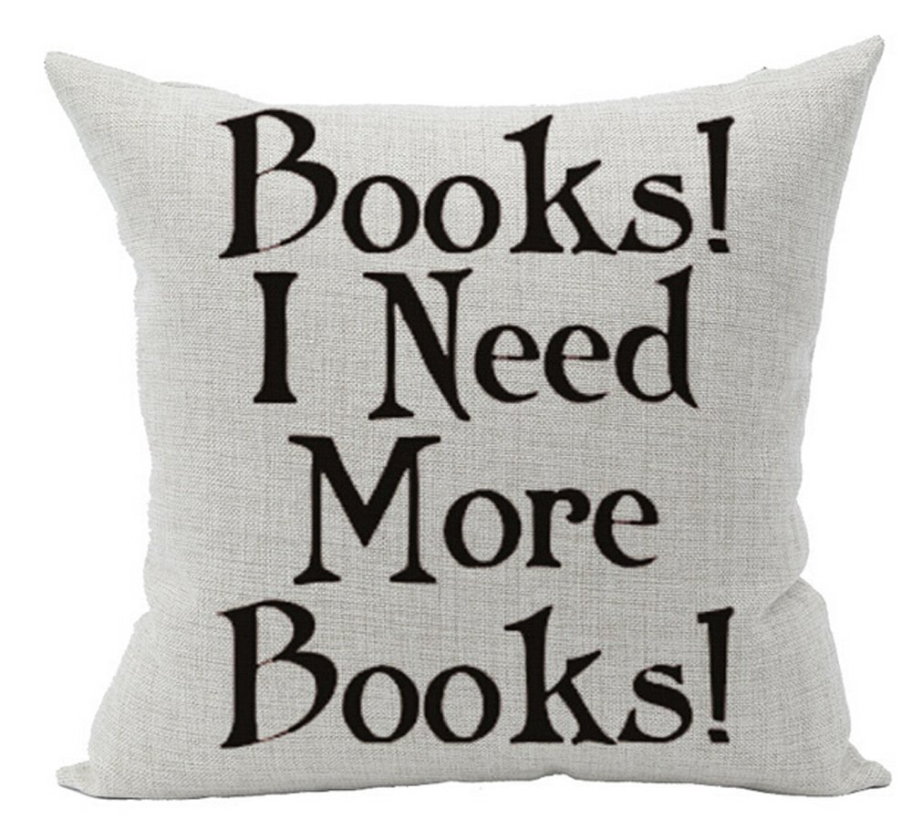 """Cotton Linen Square Decorative Throw Pillow Case Cushion Cover Book Lover Reading Book Club Books I Need More Books 18 """"X18 """""""