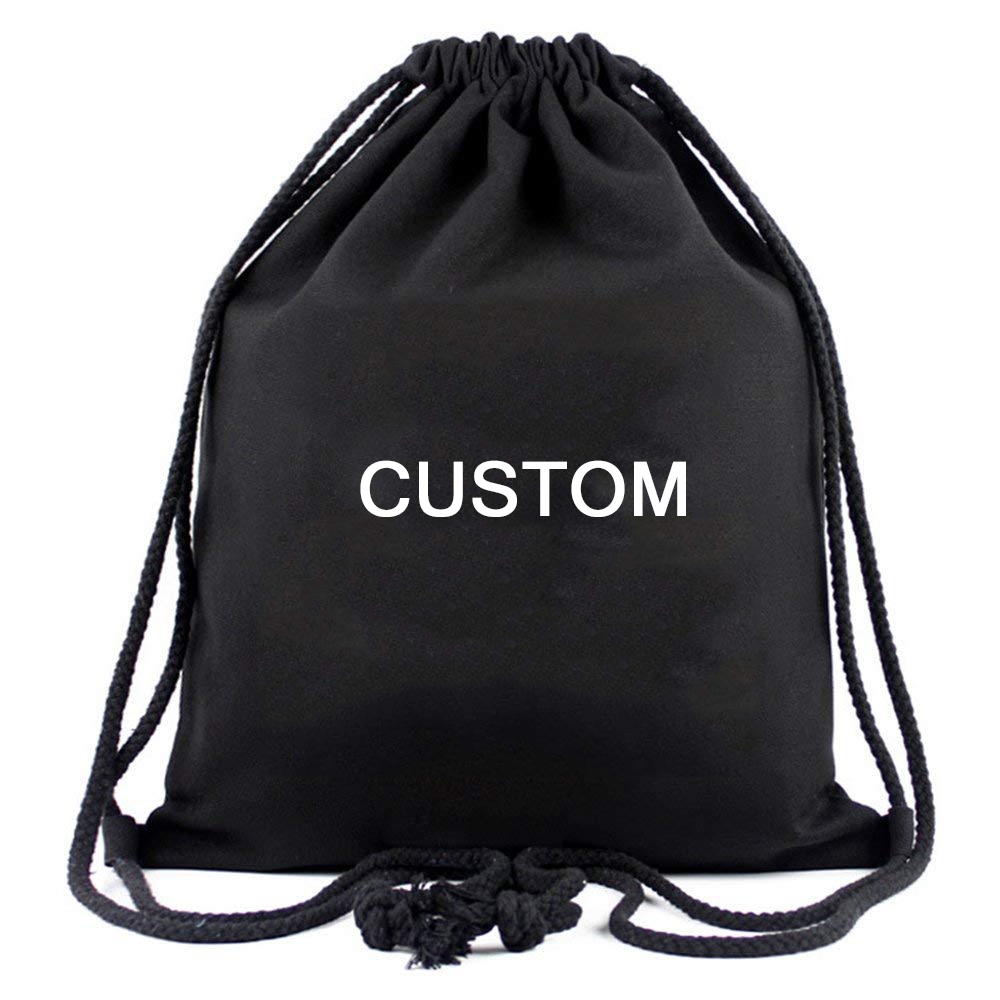 Small Canvas Dust gift bag cloth bag draw string back sack fabric black cotton gym drawstring bag