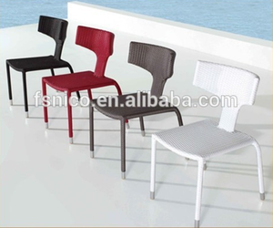 Poly rattan and aluminum frame wicker outdoor chair