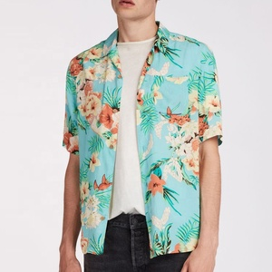Custom Summer Tropical Flowers Printing Short Sleeve Hawaii Rayon Viscose Shirts For Men