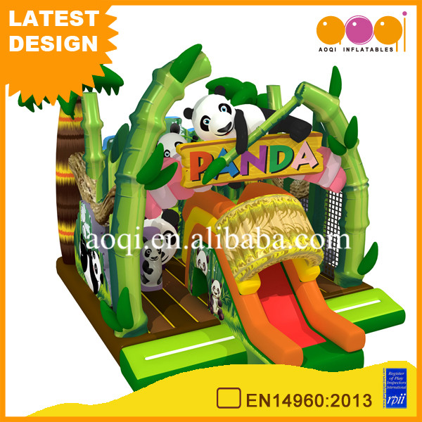 AOQI commercial mini panda inflatable bouncer combo jumper with slide