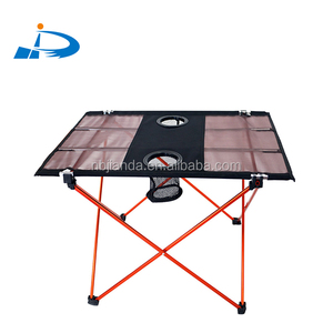 Ninghai jianda small folding portable custom aluminum camping picnic wholesale outdoor furniture table with cup holder