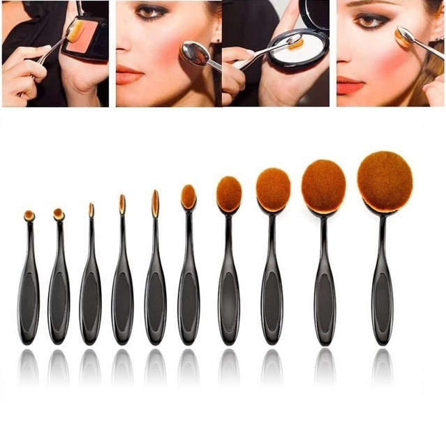 2016 hot sale 10pcs per set nylon oval toothbrush shape make up brush for <strong>cosmetic</strong> and foundation brush