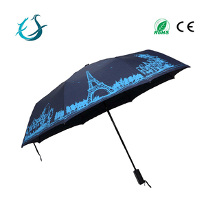 Fashion Eiffel Tower printing auto open and close 3 fold umbrella