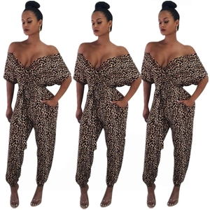 women sexy cleavage strapless leopard jumpsuit PY8116