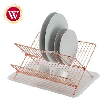 Alta calidad 2-tier cobre escurridor estante de plato plegable plato con  escurridor f722ca77b8a0
