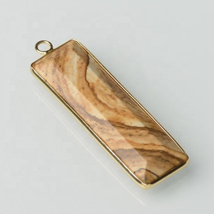 Faceted Picture Jasper Turquoise Onyx Rectangle Pendant Gemstone Stone Bezel Pendants For Necklace Jewelry Making