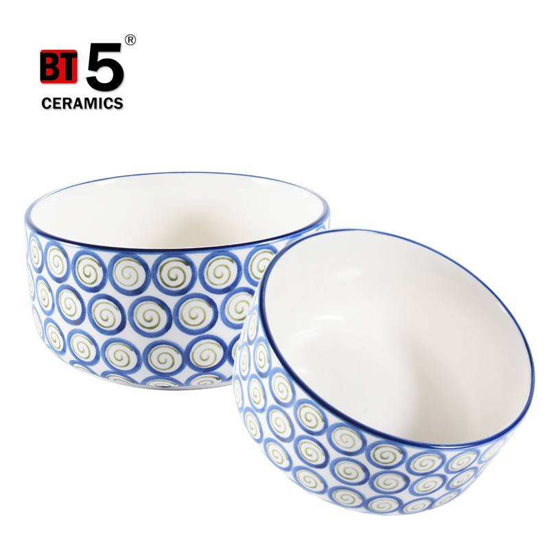 Cute circle pattern big soup rice noodles ceramic kitchen bowls with cover