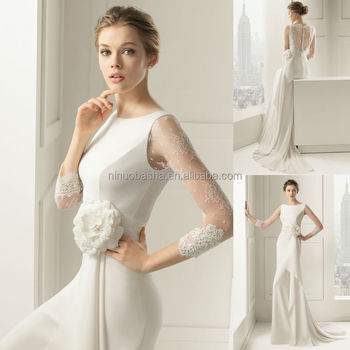 2015 New Collection Sheath Wedding Dress Jewel Neck Sheer Lace Long ...