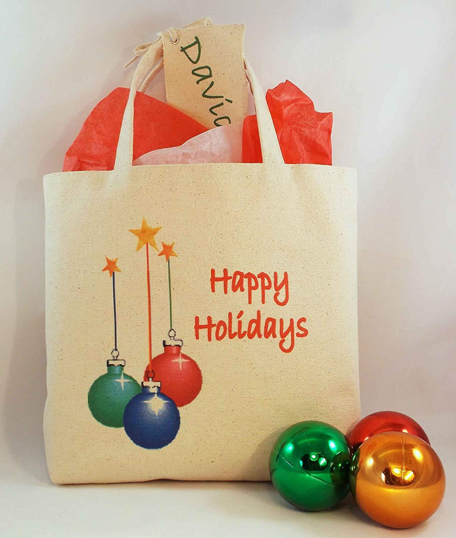 "CHRISTMAS GIFT BAG Tall Mini Tote Reusable Gift Bag, vibrantly printed crisp natural color canvas Christmas Designs, Mini Tote Size: 10.25"" tall x 14"" wide with 2.5"" gusset."