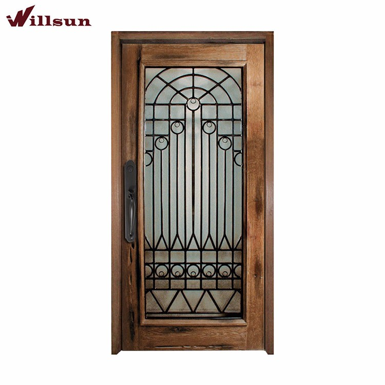 Cast Iron Wood Single Doors Iron Grill Design Flush