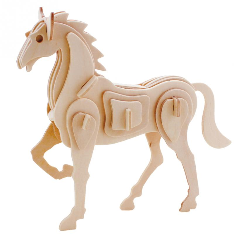 DIY 3D Three-dimensional Wooden Cute Horse Style Jigsaw Puzzle Toys for Children Kid Handmade Wood Nice Gift