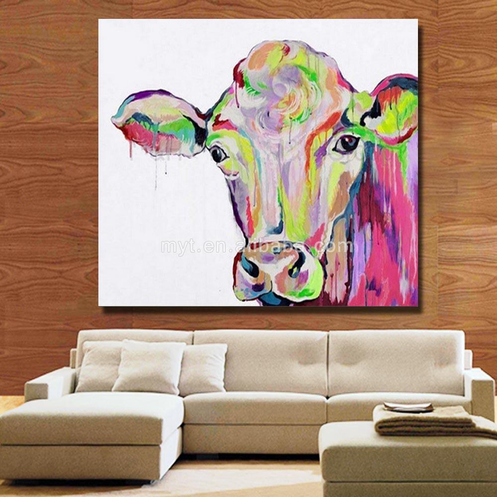 Koe dier muur foto voor woonkamer hand tekening moderne abstracte ...