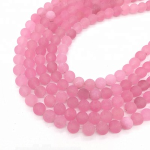 Semipermeable Rose Quartz Natural Gemstone Loose Beads 10mm Matte Round Crystal Energy Stone Healing Power for Jewelry Making