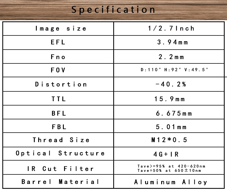 1/2.7inch f2.2 efl3.94 fov110*92*49.5 degree short ttl 4G elements 2mp m12*p0.5 mount board lens