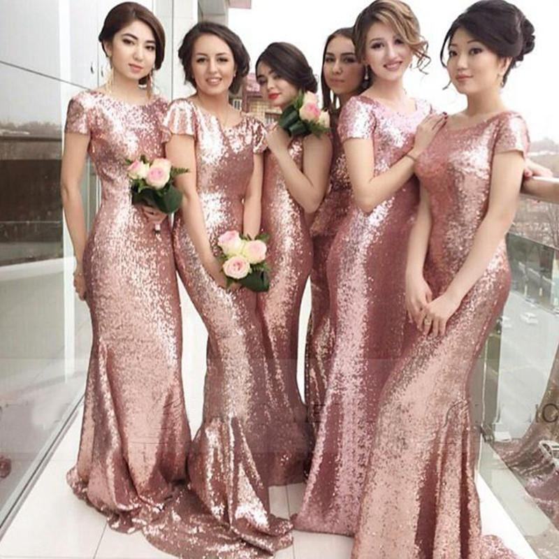 Gold Bridesmaid Dresses: Bling Bling Rose Gold Bridesmaids Dresses 2016 Sequined