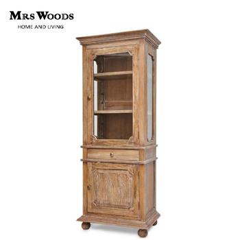 Antique Solid Oak Wood Furniture Rustic Wooden Corner Gl Display Cabinet