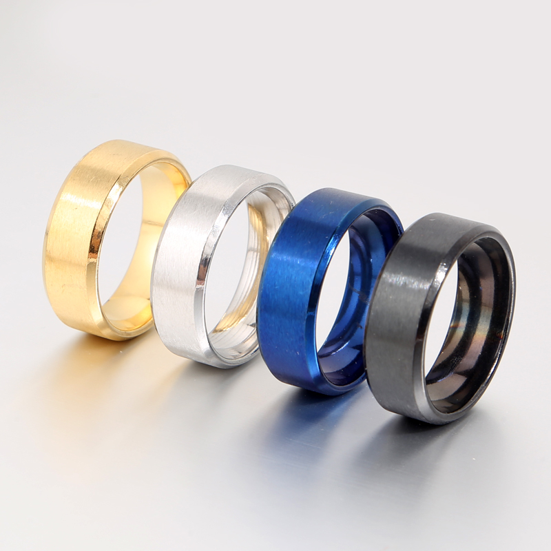 Hot sale promotions 8 MM width gold silver black blue stainless steel <strong>ring</strong> for women men