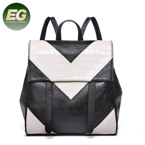 Genuine leather backpacks school bags for teenagers travel shoulder packbag EMG4670