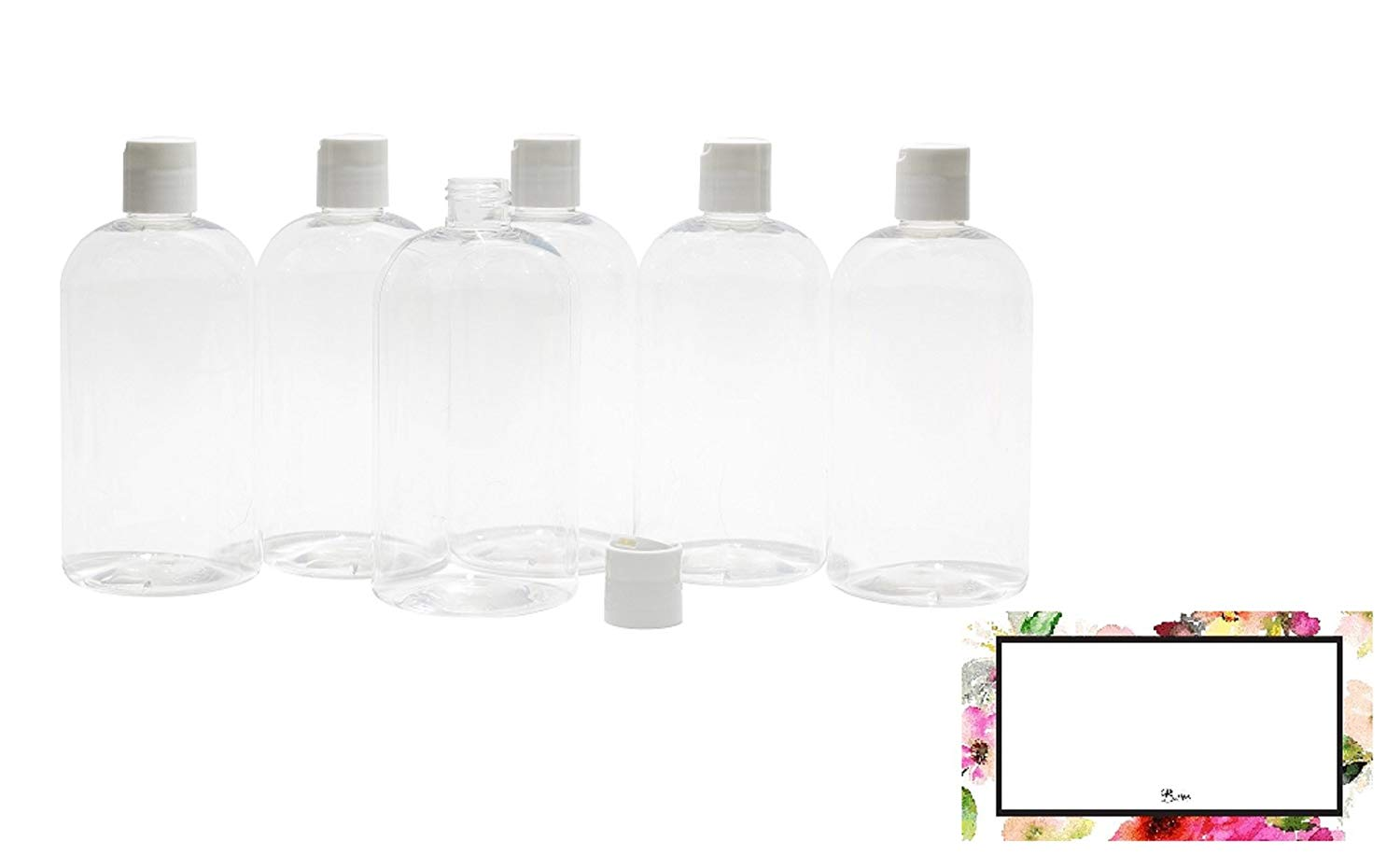 BAIRE BOTTLES - 16 OZ CLEAR PLASTIC REFILLABLE BOTTLES with WHITE HAND-PRESS FLIP DISC CAPS, ORGANIZE Soap, Shampoo, Lotion with a Clean Look, PET, Lightweight, BPA Free, 6 Pack, BONUS 6 FLORAL LABELS